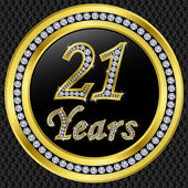 21 years anniversary, happy birthday golden icon with diamonds, vector illu — Stock Vector