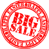 Grunge happy easter big sale rubber stamp, vector illustration — Stock Vector