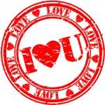 Grunge I love you rubber stamp, vector illustration — Stock Vector