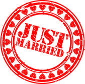 Grunge Just married rubber stamp, vector illustration — Stock Vector