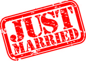 Grunge Just married rubber stamp, vector illustration — Stok Vektör