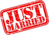 Grunge appena sposato il timbro di gomma, illustrazione vettoriale — Vettoriale Stock