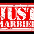 Grunge just married rubber stamp, vector illustration - 图库矢量图片