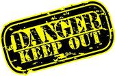 Grunge danger keep out rubber stamp, vector illustration — Stock Vector