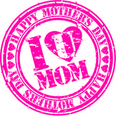 Grunge Happy mother's day rubber stamp, vector illustration — Vector de stock