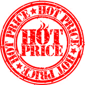 Grunge hot deal price stamp, vector illustration — Stock Vector