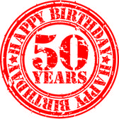 Grunge 50 years happy birthday rubber stamp, vector illustration — Stock Vector