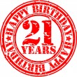 Grunge 21 years happy birthday rubber stamp, vector illustration — Stock Vector