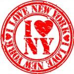 Grunge I love new york rubber stamp, vector — Stock Vector #9955557