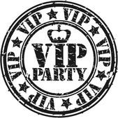 Grunge vip party rubber stamp, vector illustration — Stock Vector