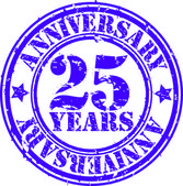 Grunge 25 years anniversary rubber stamp, vector illustration — Stock Vector