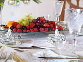 Place setting with fruit tray — Stock Photo