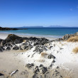 Eigg and Rum from Arisaig. - Stock Photo