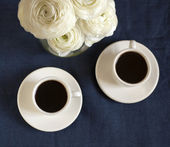 Coffee and roses — Stock Photo