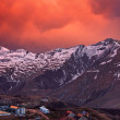 Stock Photo: Bloody Sunset in the mountains