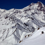 ������, ������: Freerider on the background of Mount Kazbek