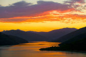 Sunset above the reservoir — Stock Photo