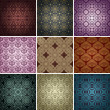 Stock Vector: Set of 9 seamless patterns.