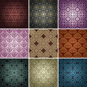 Set of 9 seamless patterns. — Stock Vector