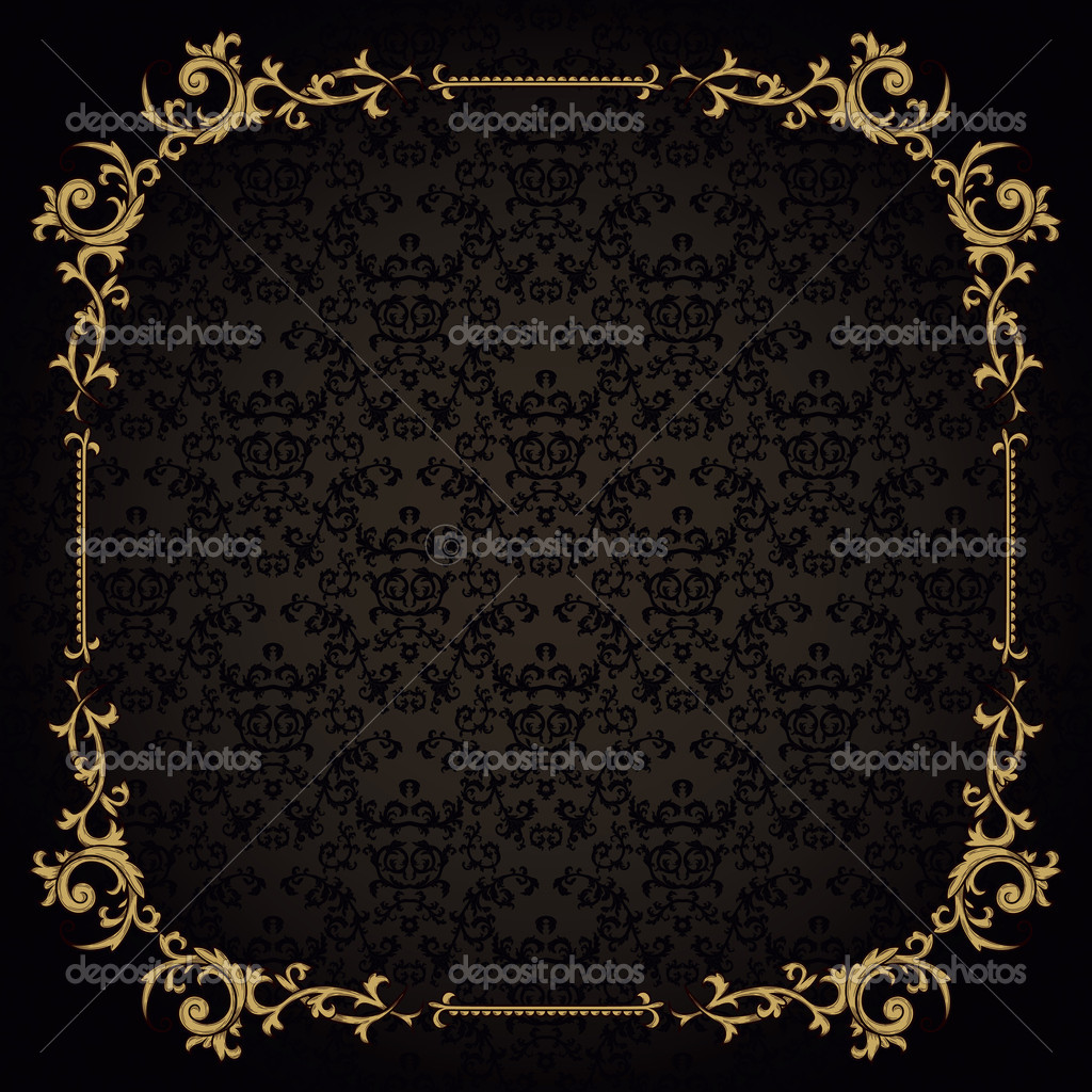 Vintage frame on damask background — Stock Vector #10154601