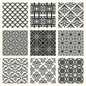 9 のシームレスなパターンのセット. — ストックベクタ