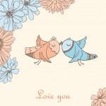 Kissing birds — Stock Vector