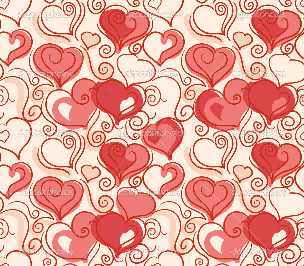 Romantic seamless background with cute hand drawn hearts  Stock Vector #8106199