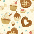 Repeating wallpaper with cakes — Stock Vector