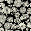 Black and white floral seamless pattern — Stock Vector