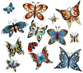 Set with butterflies — Stock Vector