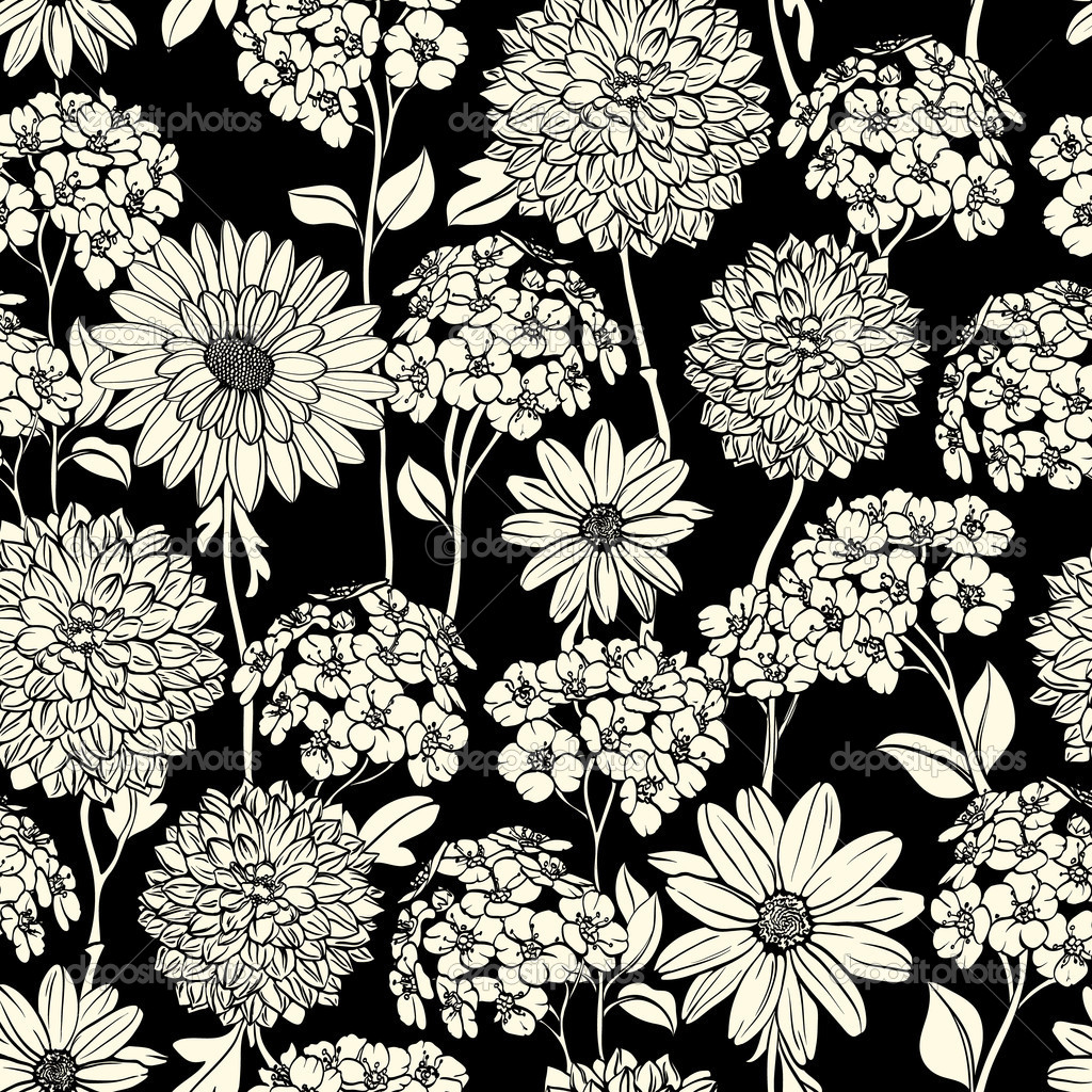Black and white floral seamless pattern — Stock Vector ...
