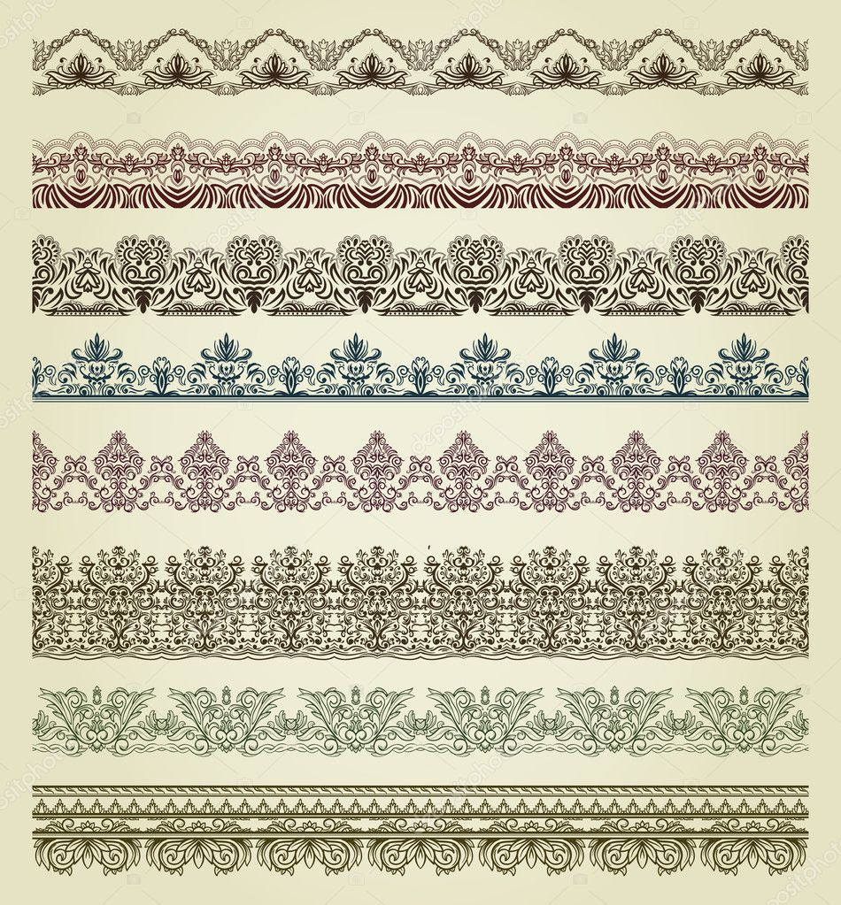 Set of vintage borders. Could be used as divider, frame, etc — Imagen vectorial #8517932