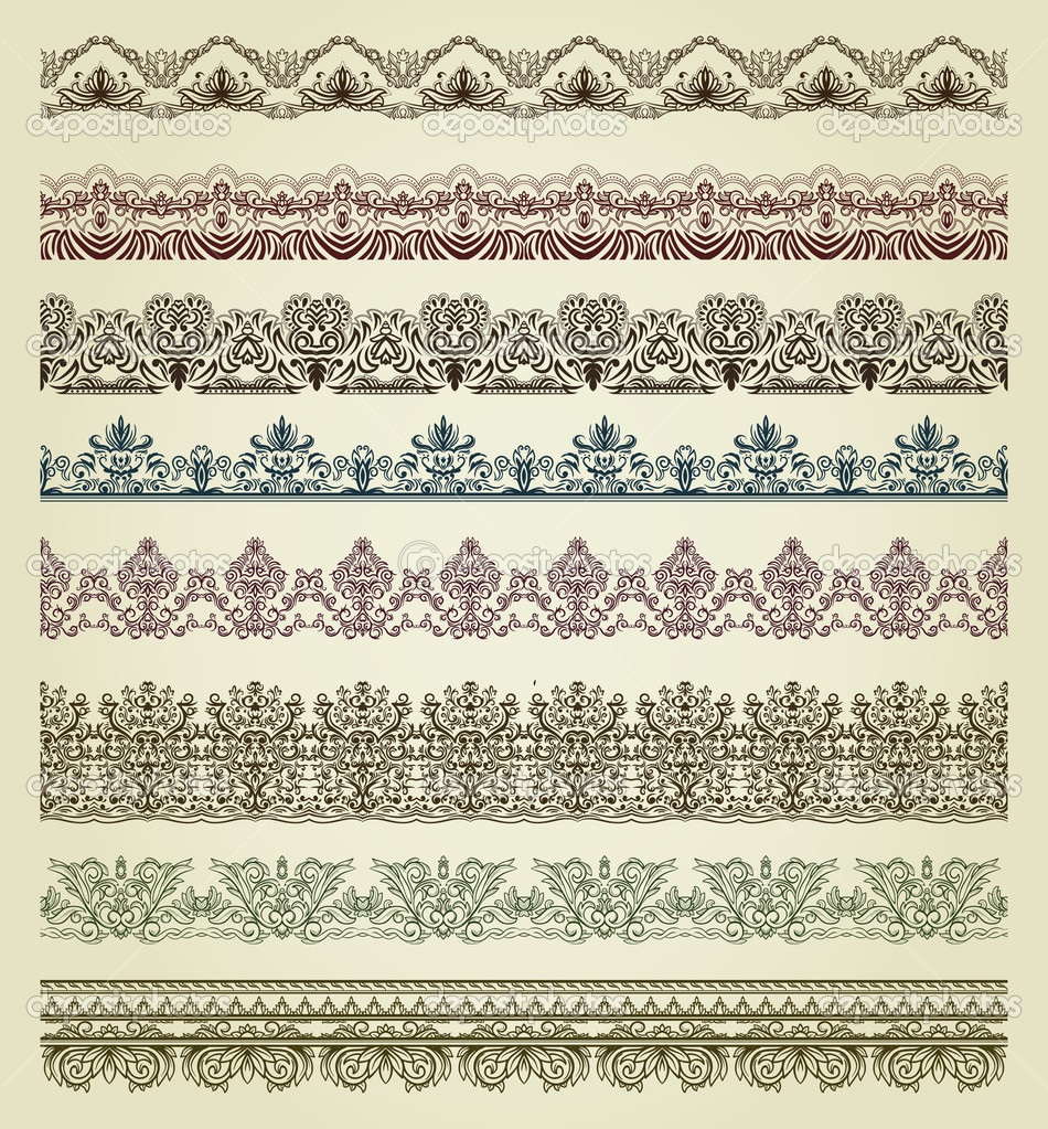 Set of vintage borders. Could be used as divider, frame, etc — Stok Vektör #8517932