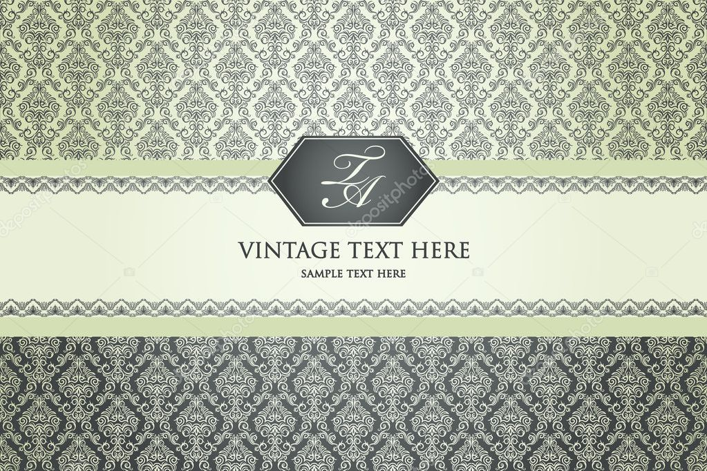 Vintage background with damask pattern in retro style — Stock Vector #8518032