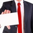 Business man holding blank white card — Stock Photo