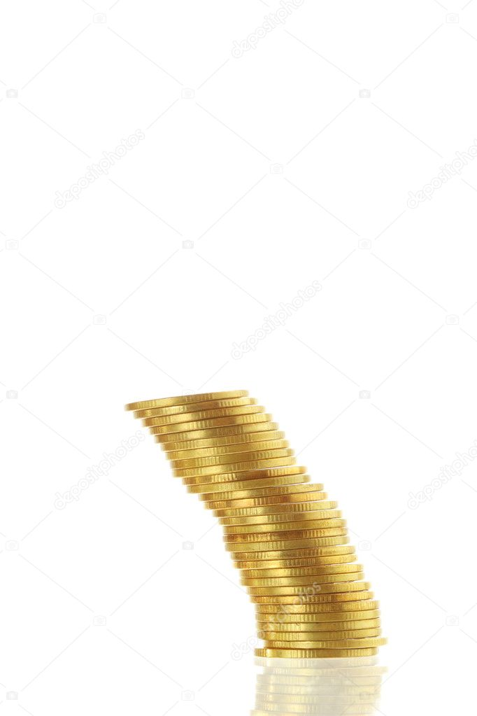 Gold coin heap isolated on white background — Stock Photo #9844617