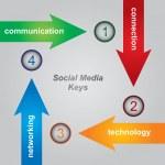 Social Media Keys — Stock Vector