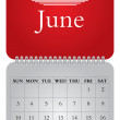 Stock Vector: Monthly calendar for 2012, June