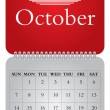Stock Vector: Monthly calendar for 2012, October
