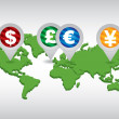 Stock Vector: Major currencies