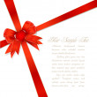 Red gift bows with ribbon and heart — Grafika wektorowa