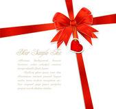 Подарок красное Луки с лентой и сердца — Cтоковый вектор