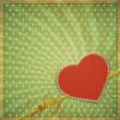 Vintage background with heart and ribbon — Stock Vector
