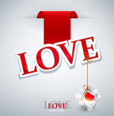 "Holiday background with sticking a label (the word ""love"") — 图库矢量图片"