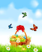 Easter background with a basket full Easter eggs — Stock Vector