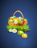 A basket full of Easter eggs on a blue background — Vector de stock