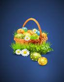 Una cesta llena de huevos de pascua sobre un fondo azul — Vector de stock