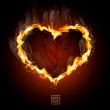 Fiery heart on a black background — Stock Vector