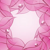 Vector abstract background with pink leaves and drops of dew — Stock Vector