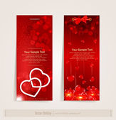 Two vertical vector festive banner with hearts — Stock Vector